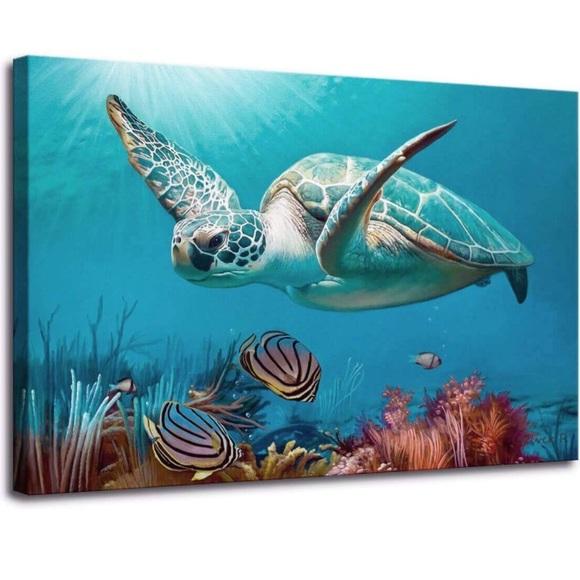 Bathroom Decor Beach Decor Sea Turtle Art Blue Nwt